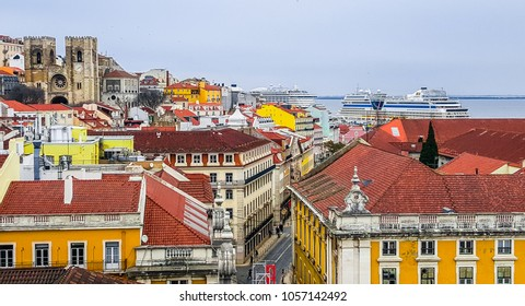 Lisboa, Portugal, 09.03.2018: Panoramic view of the city.