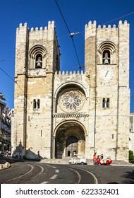 LISBOA, PORTUGAL - APRIL 16, 2017: Lisbon Cathedral church Se (Santa Maria Maior de Lisboa), Portugal