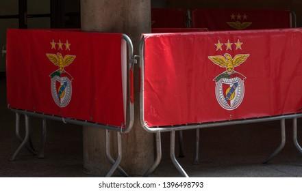 Lisboa, Portugal - April 2018: barriers with club emblem at Estadio da Luz - the official arena of FC Benfica