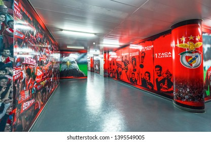 Lisboa, Portugal - April 2018:  Behind the curtain at Estadio da Luz - the official playground of FC Benfica