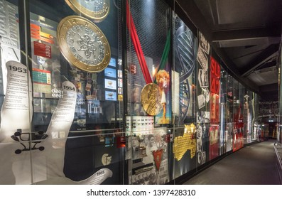 Lisboa, Portugal - April 2018: club history through the years at the exposition of FC Benfica museum