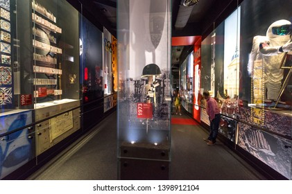 Lisboa, Portugal - April 2018: club history at the exposition in FC Benfica museum