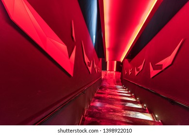 Lisboa, Portugal - April 2018: dazzling red interior in FC Benfica museum