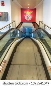 Lisboa, Portugal - April 2018: escalator in the museum at Estadio da Luz - the official arena of FC Benfica