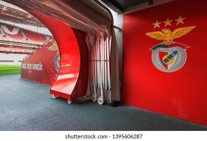 Lisboa, Portugal - April 2018: exit from the tunnel onto the playground at Estadio da Luz - the official playground of FC Benfica