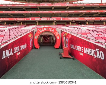 Lisboa, Portugal - April 2018: exit from the players tunnel onto the ground at Estadio da Luz arena - the official playground of FC Benfica