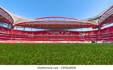 Lisboa, Portugal - April 2018:  Grass view on Estadio da Luz arena - the official playground of FC Benfica