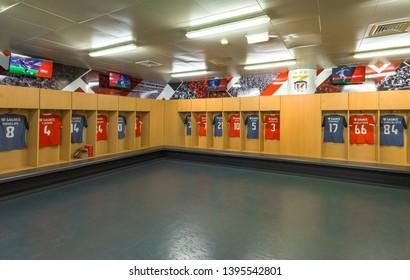 Lisboa, Portugal - April 2018: home chsnging room at Estadio da Luz - the official arena of FC Benfica