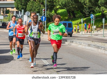 Lisboa, Portugal - April 2018: participants of the traditional city marathon, dedicated to the Liberty Day - 25th of April