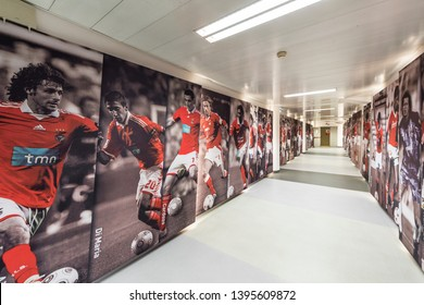 Lisboa, Portugal - April 2018:  players tunnel at Estadio da Luz - the official playground of FC Benfica