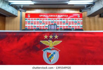 Lisboa, Portugal - April 2018: press-room at  Estadio da Luz - the official playground of FC Benfica
