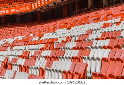 Lisboa, Portugal - April 2018:  red and white seats at the tribune of Estadio da Luz - the official arena of FC Benfica