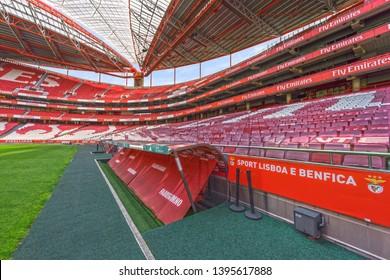 Lisboa, Portugal - April 2018: tribunes at Estadio da Luz arena - the official playground of FC Benfica
