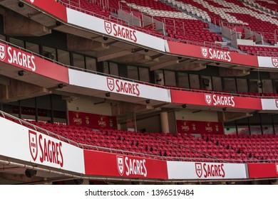 Lisboa, Portugal - April 2018: tribunes levels at Estadio da Luz - the official arena of FC Benfica