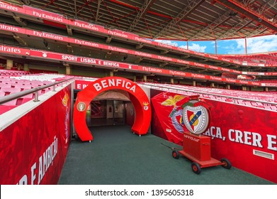 Lisboa, Portugal - April 2018: tunnel exit to the ground at Estadio da Luz - the official playground of FC Benfica