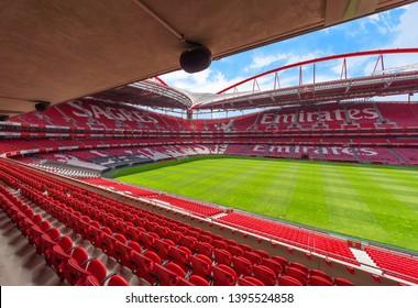 Lisboa, Portugal - April 2018:  view of Estadio da Luz - the official arena of FC Benfica
