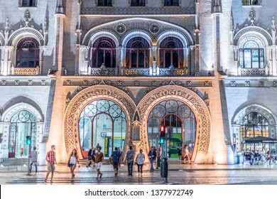 Lisboa, Portugal - July 20 2016: Entrance of the Rossio train station