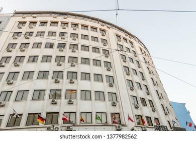 Lisboa, Portugal - July 21 2016: Exterior of Hotel Mundial.