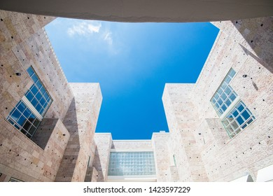 Lisboa, Portugal - July 22 2016:  View of the central cortyard of Belem cultural center.
