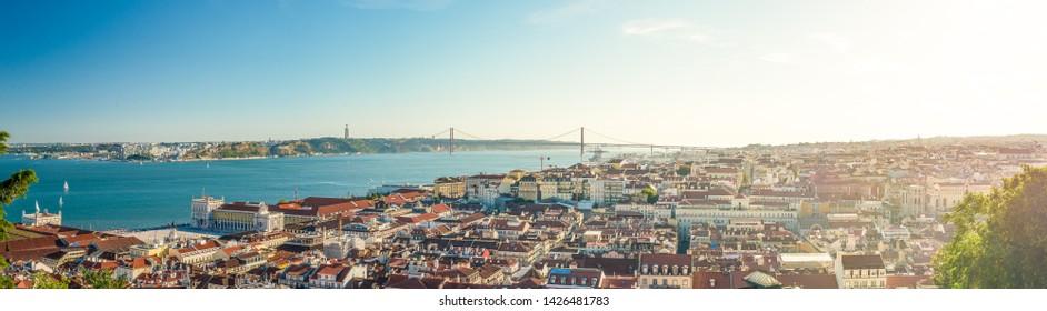 Lisboa, Portugal - July 24 2016:   View over Baixa and Ponte 25 de Abril.