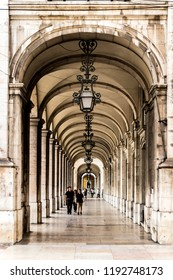 LISBOA - PORTUGAL JUNE 16, 2017: Arcades of the Plaza del Comercio, is one of the main monuments of Lisbon. It is visited daily by thousands of tourists