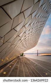 Lisboa/Lisboa/Portugal - 07 04 2018: Sunrise in Belém, Lisboa, near the museum by the  river Tejo. Bridge visible at the distance