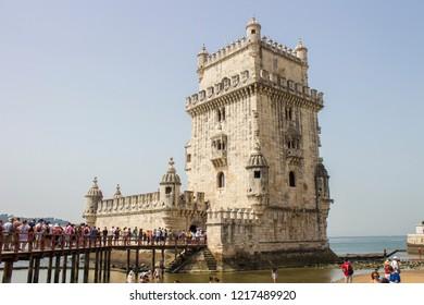Lisboa/Portugal - 08/04/2018: Torre de Belem/Belem Tower, Lisboa, Portugal, in august 2018
