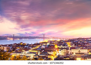 Lisbon and 25 abril bridge at sunset, seen from Sao Jorge Castle, Portugal
