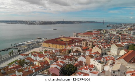 Lisbon aerial view from Alfana, Portugal.