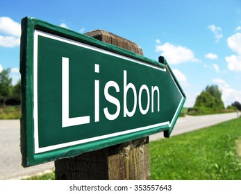 Lisbon arrow along a rural road