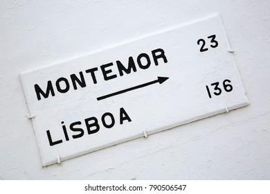 Lisbon Arrow Sign on White Background