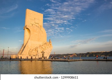 Lisbon, Belem, Portugal 01/05/2014: Padrao dos Descobrimentos - Monument to the Discoveries. The monument was conceived in 1939 by Portuguese architect Jose Angelo Cottinelli Telmo