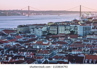 Lisbon bridge sea view, Portugal