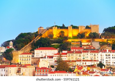 Lisbon Castle on a top of a hill at twilight. Lisbon, Portugal