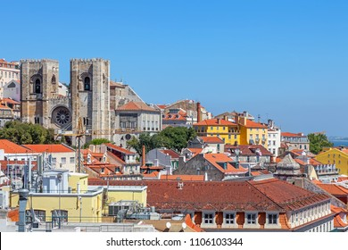 Lisbon Cathedral or Se de Lisboa (Santa Maria Maior Church) and the rooftops of the Alfama District.