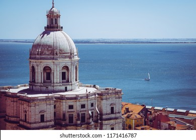 Lisbon church with an ocean view in old town Alfama