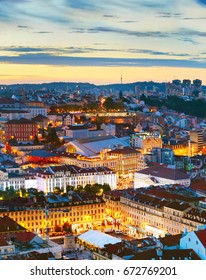 Lisbon city center aerial view in the beautiful twilight. Portugal