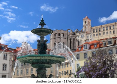 Lisbon city in Portugal. Rossio Square and fountain.
