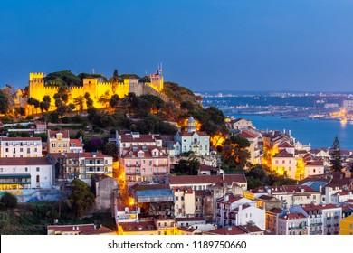Lisbon city skyline at twilight , Portugal