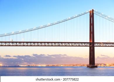 Lisbon cityscape and the 25 de Abril Bridge, Portugal