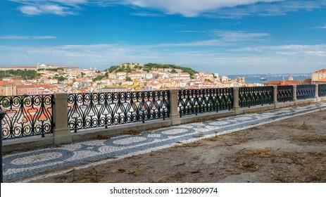Lisbon cityscape, Lisbon skyline at summertime, Garden of São Pedro de Alcantara, Portugal.