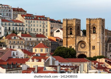 Lisbon cityscape with typical houses and Lisbon Cathedral ( Sé de Lisboa)