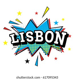 Lisbon. Comic Text in Pop Art Style.