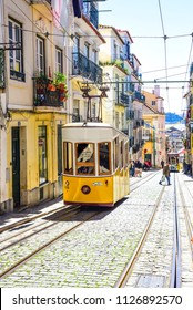 lisbon, elevador da Bica connects the city center with the high bairro district