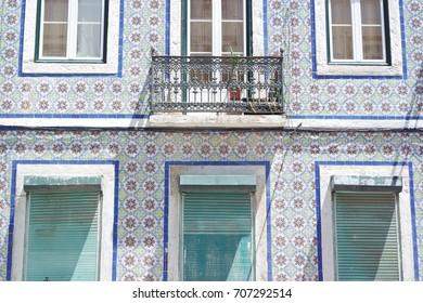 Lisbon facade with tiles