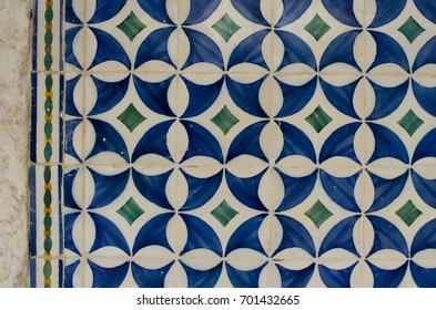 Lisbon famous wall tiles on buildings and streets - azulejos.