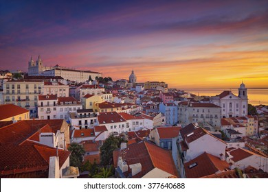 Lisbon. Image of Lisbon, Portugal during dramatic sunrise.