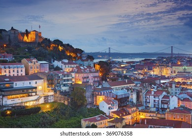 Lisbon. Image of Lisbon, Portugal during twilight blue hour.