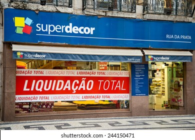 LISBON - JANUARY 13TH: Closing down sale sign at superdecor on January the 13th, 2015, in Lisbon, Portugal. Many Portuguese business's are struggling due to the recent depression.
