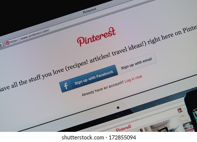 LISBON - JANUARY 23, 2014: Photo of Pinterest homepage on a monitor screen. Pinterest is a pinboard-style photo-sharing website.